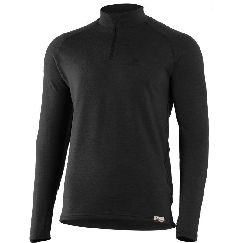 WARY Merino Herren 1/4 Zip Sweatshirt, 260gr - schwarz